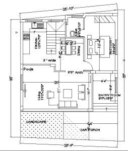 30x35 plot Trapezoidal shape plot house plan