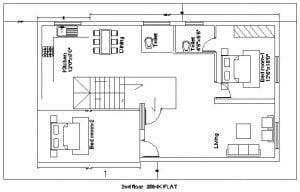 20x35 duplex house plan with external stair case 1st floor plan options