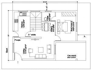 20x30 East Facing House plan
