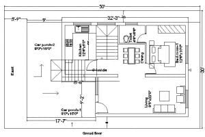 20x35 duplex house plan with external stair case and 2 car parking