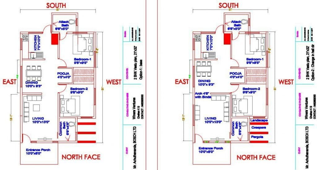 floor plan for house construction 21x31-North-face-2-BHK_ Vastu