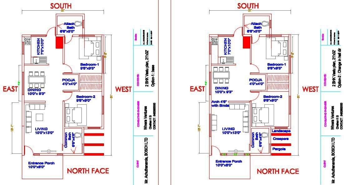 21x31 North face 2 BHK _HOUSE PLAN