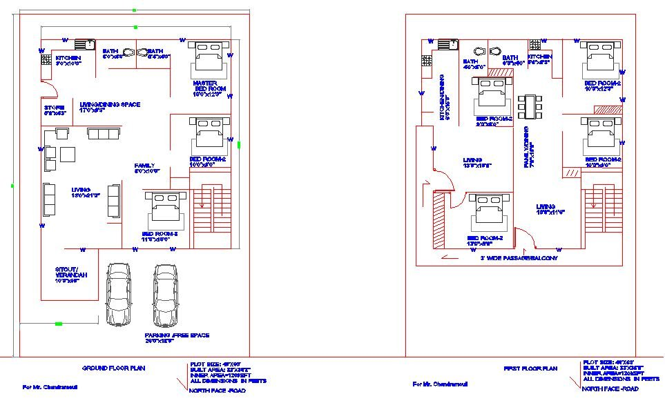 40'X60' NORTH FACE GROUND FLOOR AND FIRST FLOOR HOUSE PLAN