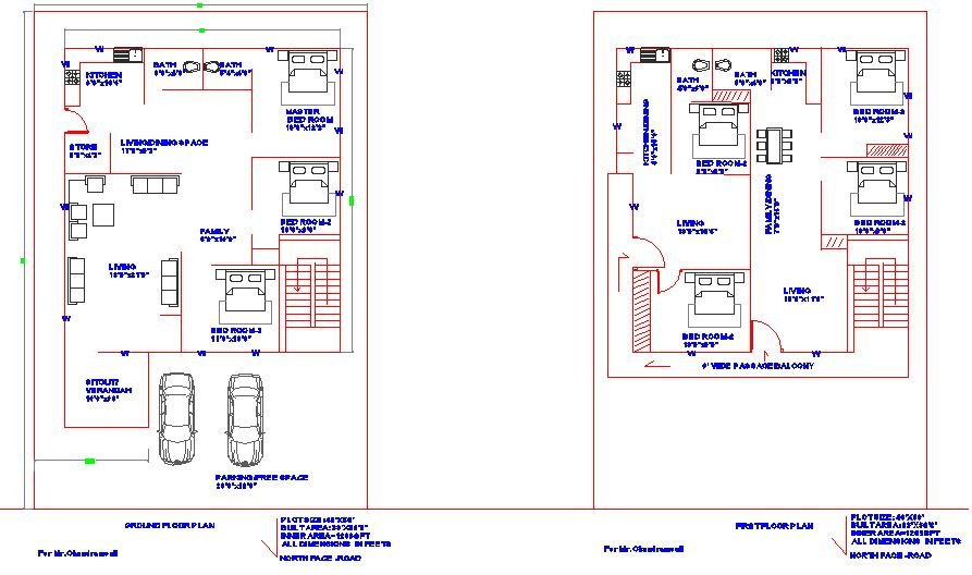 40'X60' WEST FACE PLOT_ OPTION-2_ GROUND FLOOR AND FIRST FLOOR HOUSE PLAN