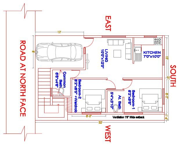 Plan for_21'x31' North face 2 BHK_car park_staircase