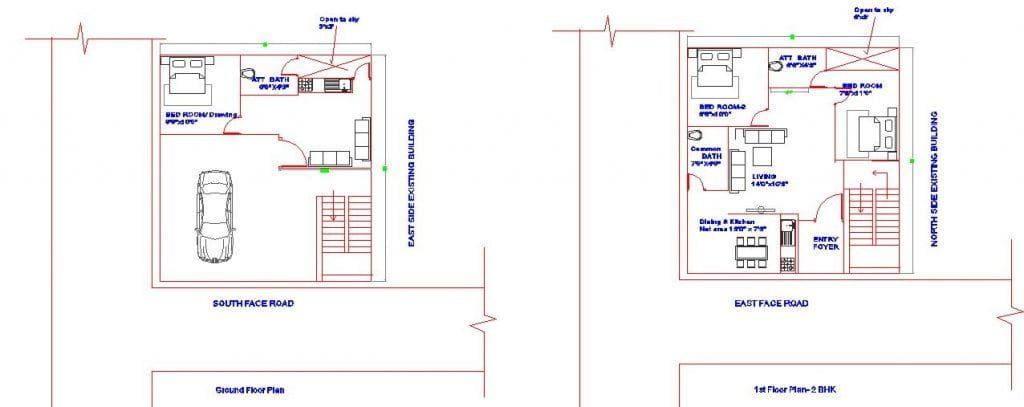 SOUTH_WEST CORNER PLOT 30'X37' FEET GROUND AND FIRST FLOOR HOUSE PLAN