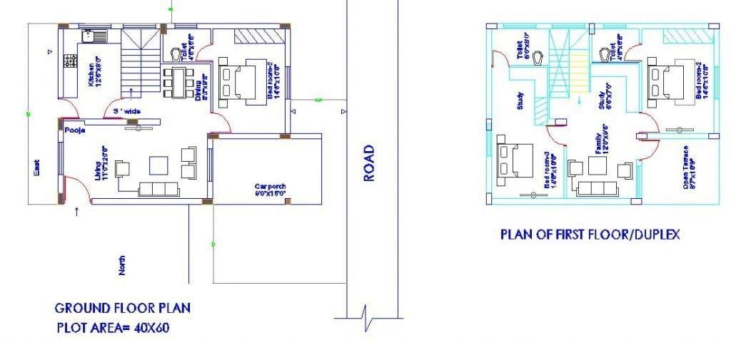 WEST FACE 30'X40' PLOT_3BHK DUPLEX HOUSE PLAN