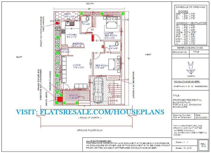 30X40 SITE NORTH FACING PLOT VASTU HOUSE PLAN DESIGNED WITH A CAR PARKING, EXTERNAL STAIRCASE, SPACIOUS LIVING 2BHK FLAT