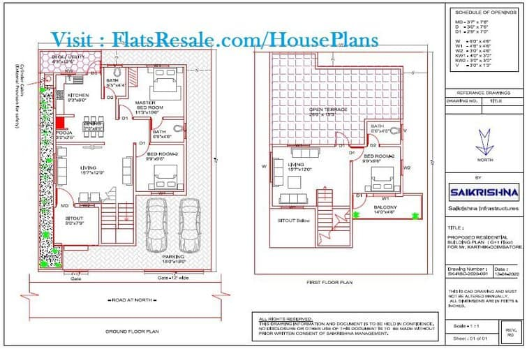 35x45 house plan 2 bhk with 2 Car parking (As per the customer's requirements)
